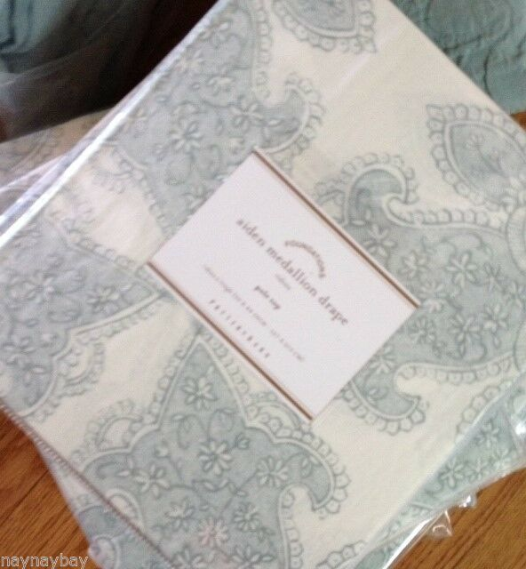 Primary image for Pottery Barn Set 2 Aiden Medallion Drape 50x84L Blue Curtain Pair Sheer $198