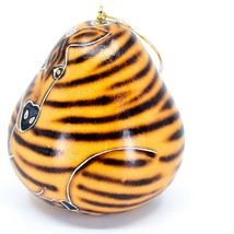 Handcrafted Carved Gourd Art Zebra Zoo Animal Ornament Made in Peru image 2