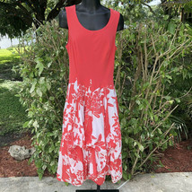 Vasna Desire Sleeveless Fit Flare Dress Size Small Coral White Floral Hawaiian image 2