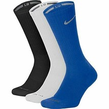 Nike Unisex Cushioned Crew Socks Large Blue/White/Black 8-12 SX4827-948 - $19.99