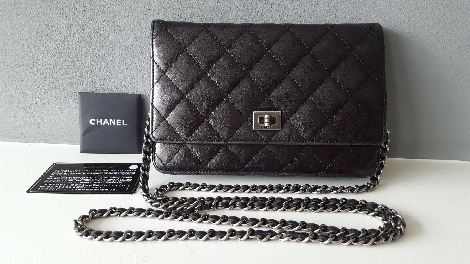 5378dda6924a 20170329 133047. 20170329 133047. Previous. Authentic Chanel WOC wallet chain  black purse bag PRE-OWNED