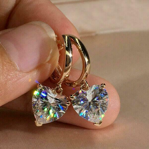 Delicated 2Ct Round Cut VVS1//D Diamond Drop Dangle Earrings 14K Rose Gold Finish