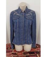 Women's M Medium Tahari Denim Jean Jacket Hidden Metal Snap Buttons Cut Fit - $58.04