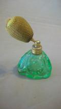 VINTAGE GREEN GLASS PERFUME SPRAYER FROM WEST GERMANY, EMPTY - $69.29
