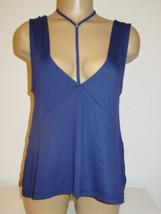 Express blue knit cami top T neck strap deep V neck front back-XS S M-NEW - $11.79