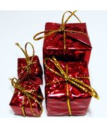 4 x Red Foil Wrapped Christmas Gift #13 Present Dollhouse Miniatures by ... - $3.24