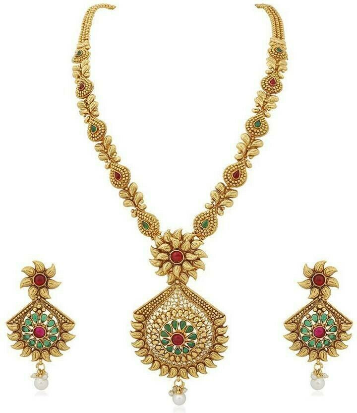 Multi Color Indian Traditional Gold Plated Fashion Temple Jewelry Necklace Set