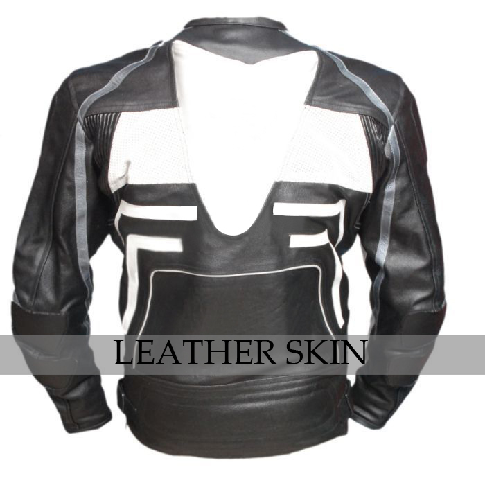 Black w/ White Pattern Motorcycle Biker Racing Premium Genuine Leather Jacket image 4