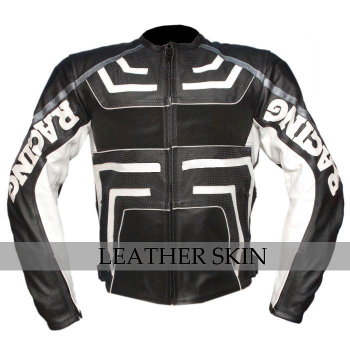 Black w/ White Pattern Motorcycle Biker Racing Premium Genuine Leather Jacket