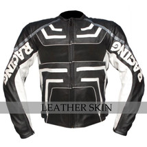 Black w/ White Pattern Motorcycle Biker Racing Premium Genuine Leather Jacket image 1