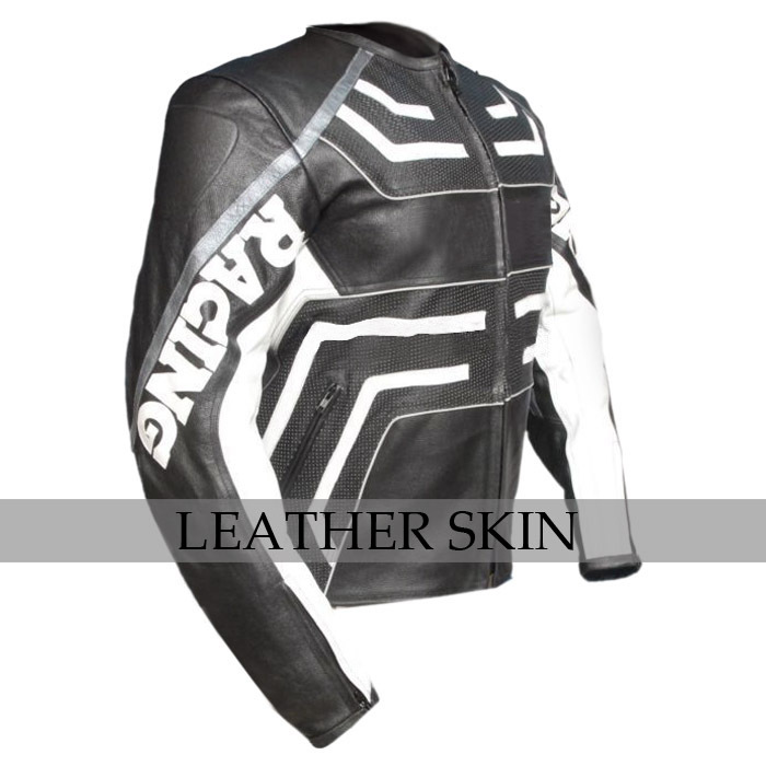 Black w/ White Pattern Motorcycle Biker Racing Premium Genuine Leather Jacket image 3