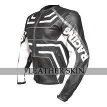 Black w/ White Pattern Motorcycle Biker Racing Premium Genuine Leather Jacket image 2