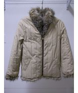 REDUCED! Tan Quilted Beige Reversible Fox Fur Hip Length Women's Jacket ... - $271.00