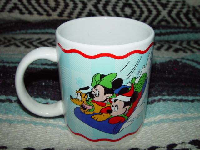 Disney Hang On, Pluto coffee Cup With Mickey and Minnie Mouse