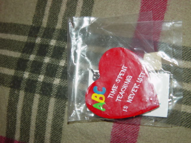 Teachers R Special Heart Shape Time Spent Teaching Is Never Lost Key Chain image 4