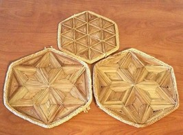 "Bamboo Trivets 3 PCS Natural Bamboo Hot Pots Trivet Mat Set 2- 9"" & 1- 7"" - $18.81"