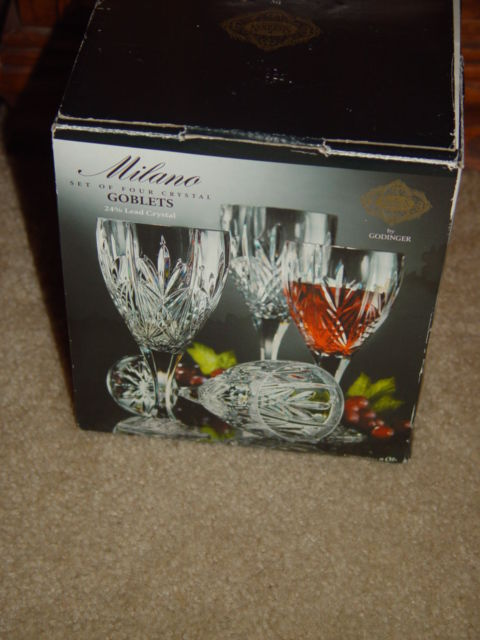 Milano Set Of 4 Shannon Crystal Goblets 24% Lead Crystal By Godiner