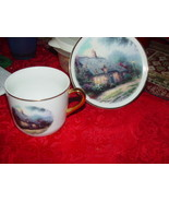 Thomas Kinkade  Moonlight  Cottages Plate and Cup Set Teleflora Gift Gol... - $29.00
