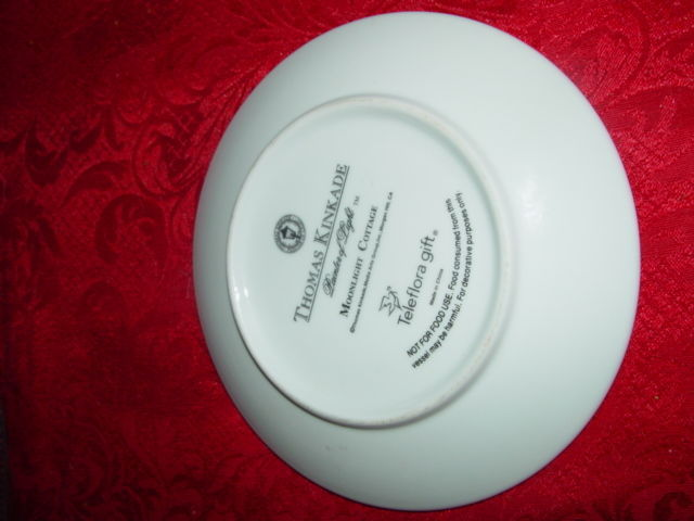 Thomas Kinkade  Moonlight  Cottages Plate and Cup Set Teleflora Gift Gold Trim image 4