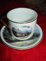 Thomas Kinkade  Moonlight  Cottages Plate and Cup Set Teleflora Gift Gold Trim image 2