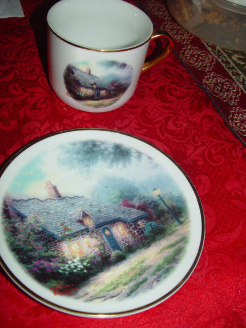 Thomas Kinkade  Moonlight  Cottages Plate and Cup Set Teleflora Gift Gold Trim image 3