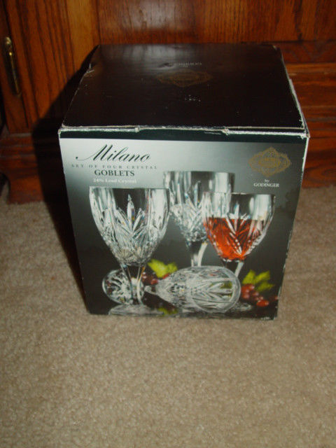 Milano Set Of 4 Shannon Crystal Goblets 24% Lead Crystal By Godiner image 7