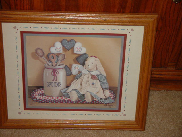Pat Pearson 1990 Framed Country Bunny With Spoons & Heart Print