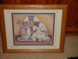 Pat Pearson 1990 Framed Country Bunny With Spoons & Heart Print image 3