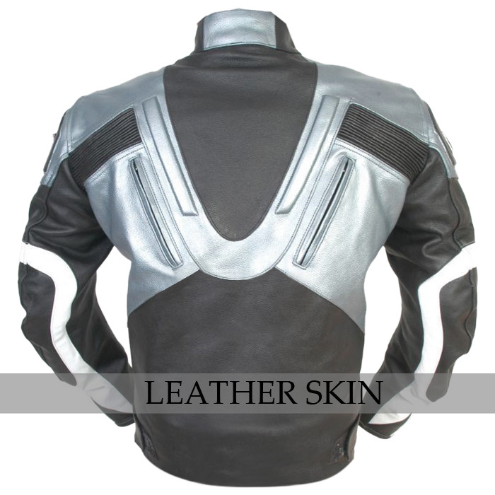 NWT Black w Gray Panels Motorcycle Biker Racing Premium Genuine Leather Jacket image 2