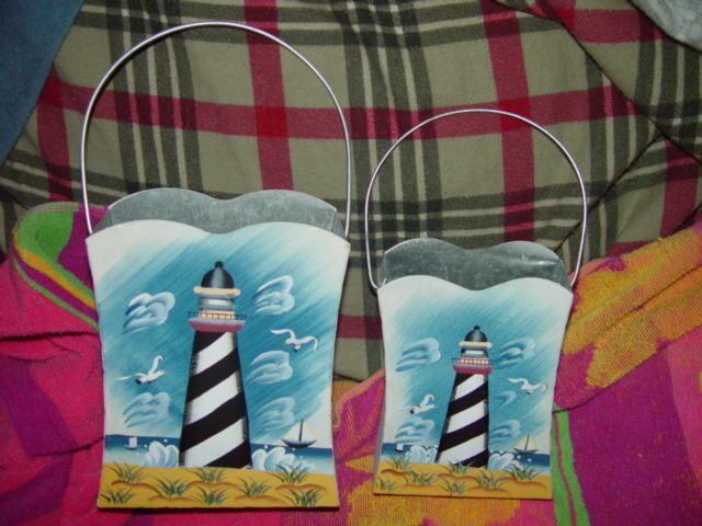 Set of 2 LightHouse Tin With Handle
