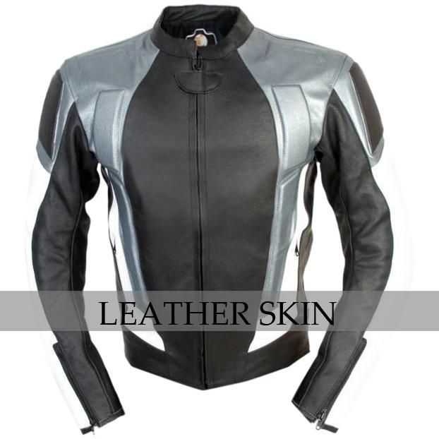 NWT Black w Gray Panels Motorcycle Biker Racing Premium Genuine Leather Jacket