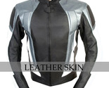 Black with gray panels biker leather jacket front thumb155 crop
