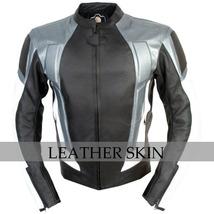 NWT Black w Gray Panels Motorcycle Biker Racing Premium Genuine Leather Jacket image 1