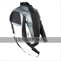 NWT Black w Gray Panels Motorcycle Biker Racing Premium Genuine Leather Jacket image 3