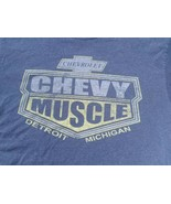 Chevy Muscle Men's T-Shirt Chevrolet GM Graphic Size L Large 42/44 Blue ... - $9.75