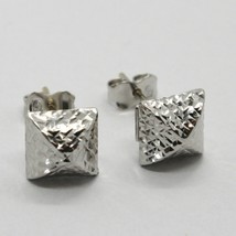 18K WHITE GOLD SQUARE EARRINGS FINELY WORKED, ROUNDED, BRIGHT, MADE IN ITALY image 1