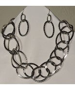 Fashion Chain Link Necklace Earring Set Circular Oval Shiny Adjustable 1... - $12.86