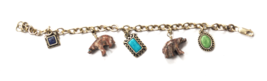 Sterling AVA Yetter Carved Rhodonite Bear Charm Bracelet Turquoise Chip ... - $49.49
