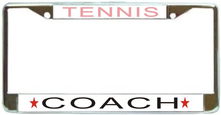 Primary image for Tennis Coach License Plate Frame (Stainless Steel)