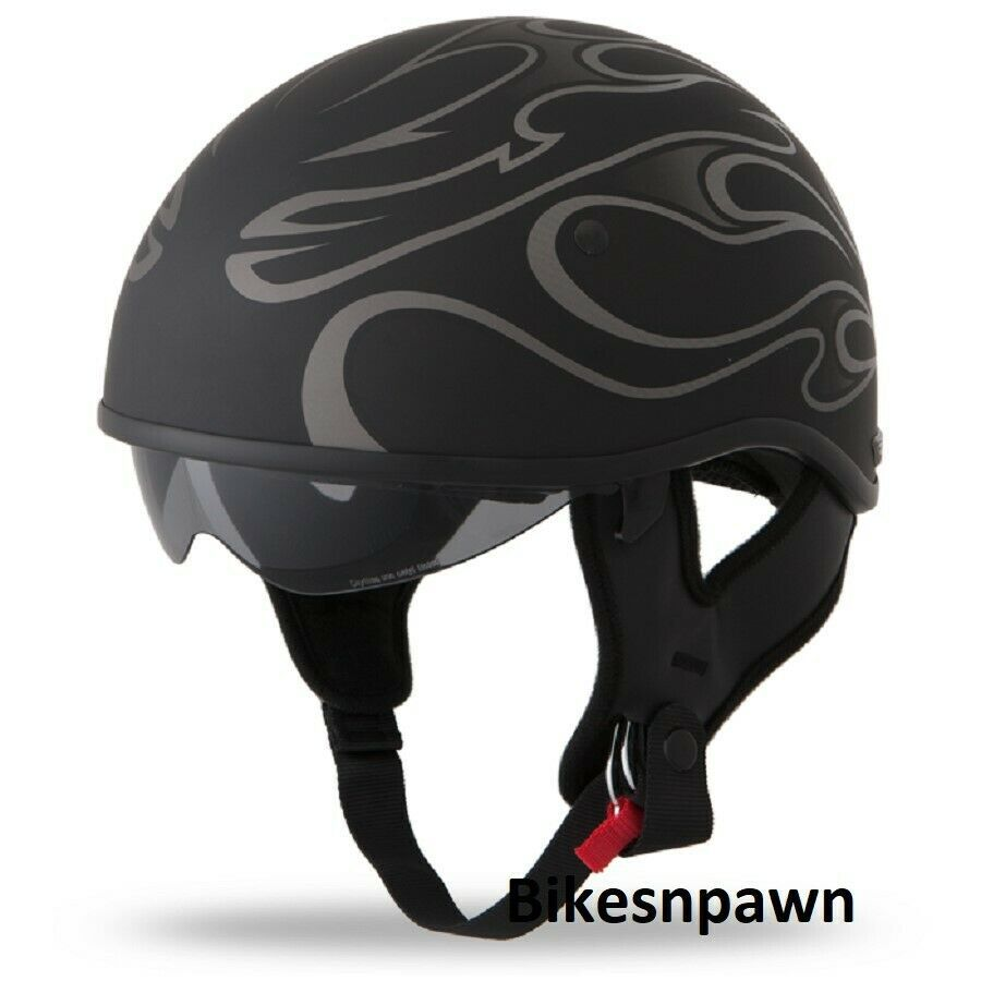 New XL Flat Black/Grey Fly Racing DOT Approved .357 Motorcycle Half Helmet