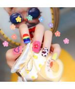 24 Pcs Rainbow Fake Nail Sticker Fashion Finished Nail Patch Nail Art Ar... - $6.52