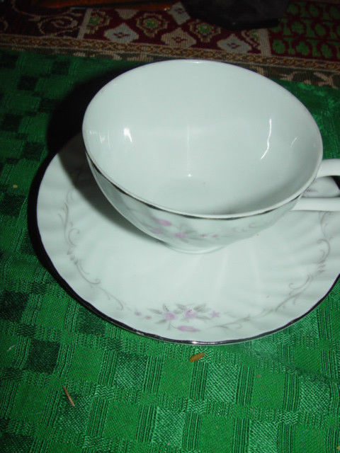 Genuine Porcelain China Gold Standard Made in Japan Cup & Sacuer Set Sliver Trim
