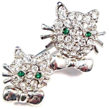 Cat Pin Brooch Twin Kitty Faces Clear Crystal Green Eyes Silver Tone Metal - $14.99