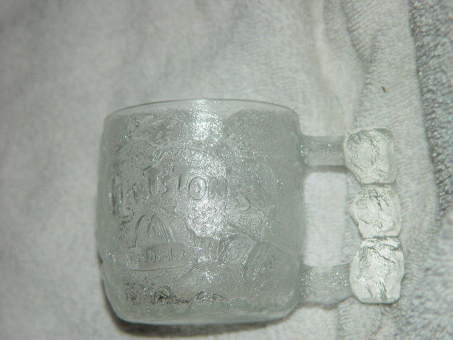 "1993 McDonald's The Flintstones Rocky Road Glass Mug 3 1/4""Tall image 4"