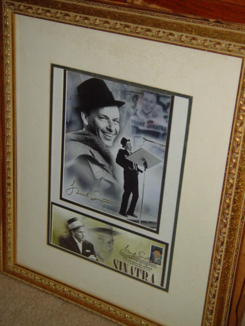 Frank Sinatra Autograph Frame Picture W/ Postcard and Stamp