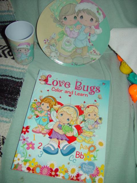Precious Moments 2006 Plate & Cup Xmas Heart  Sam B Set W/ Love Bug Coloing Book