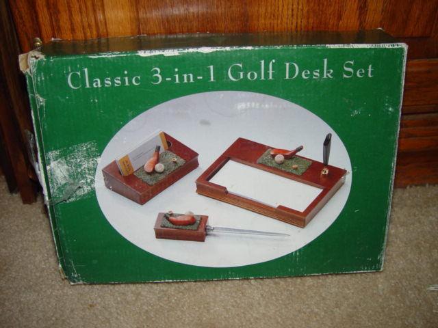 Classic 3 in 1 Golf Desk Set  W/ Letter Opener, Card Holder, & Memo Pad