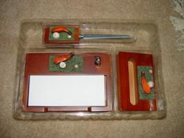 Classic 3 in 1 Golf Desk Set  W/ Letter Opener, Card Holder, & Memo Pad image 4