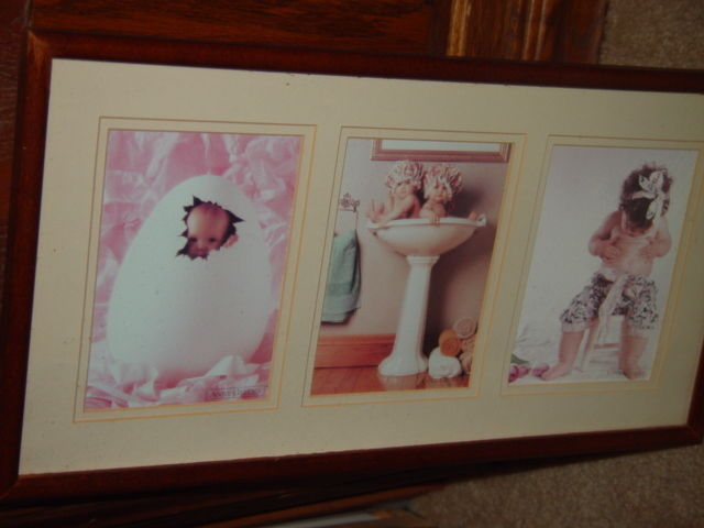 Anne Geddes Orignal Babies, Bathroom, Baby in Egg, Looking For Bellybutton