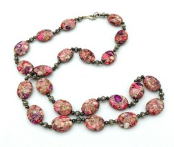 "Pink Sea Sediment Jasper Beaded Necklace 30"" - $28.70"